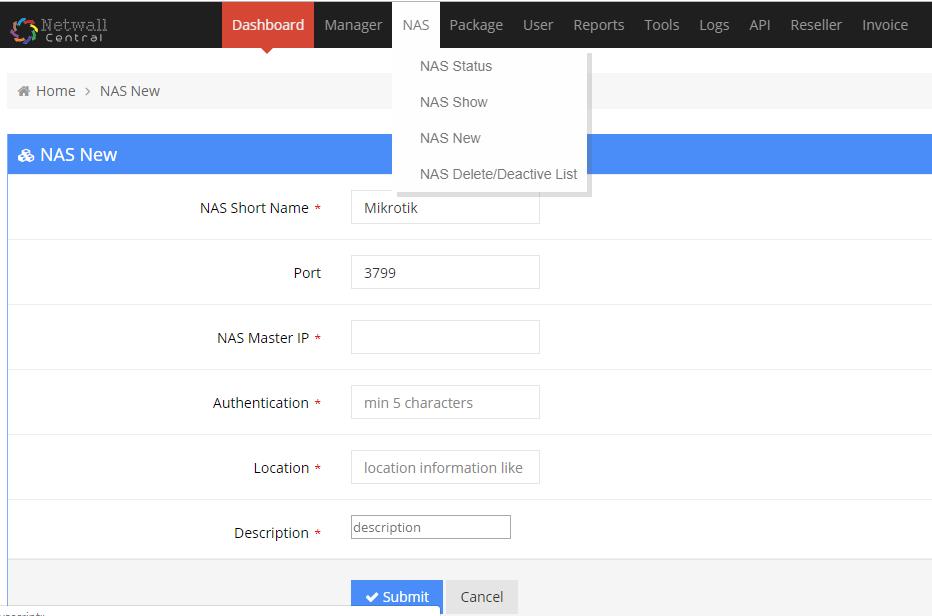 NAS-Network-access-Service-Management